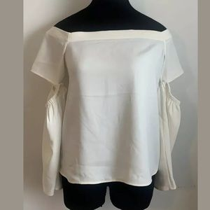 Express Slouchy Cold Shoulder Cream Blouse S